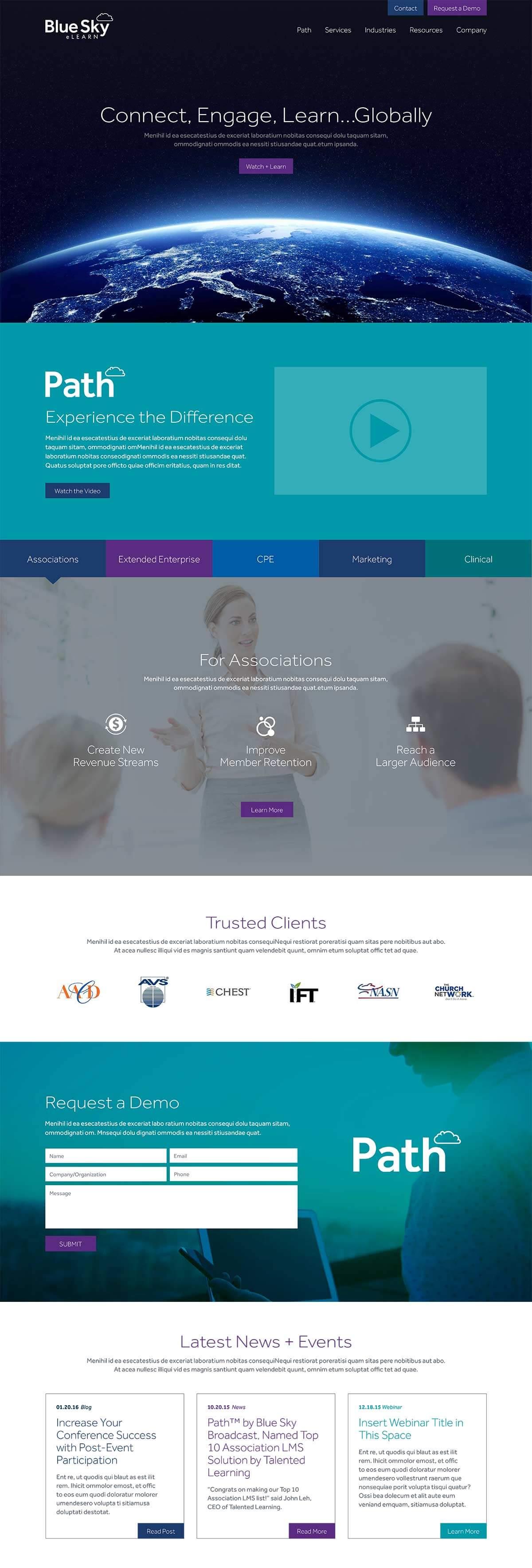 Blue Sky eLearn website home page