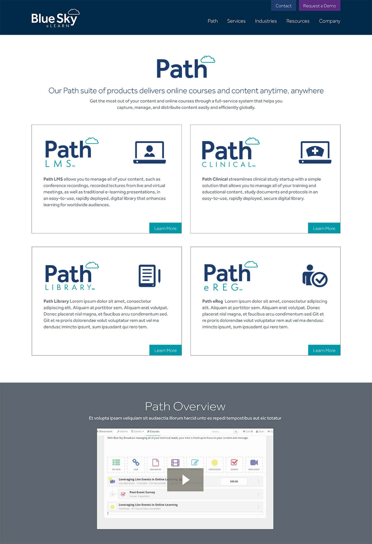 Blue Sky eLearn website path page