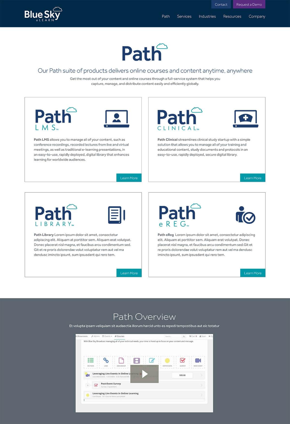 Blue Sky eLearn website path page
