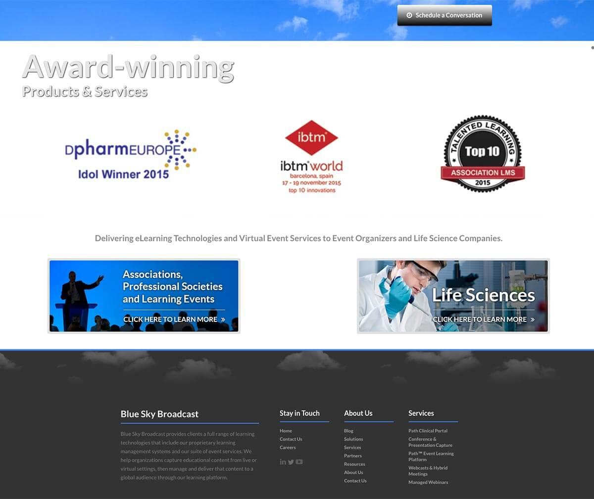Blue Sky eLearn website before v3