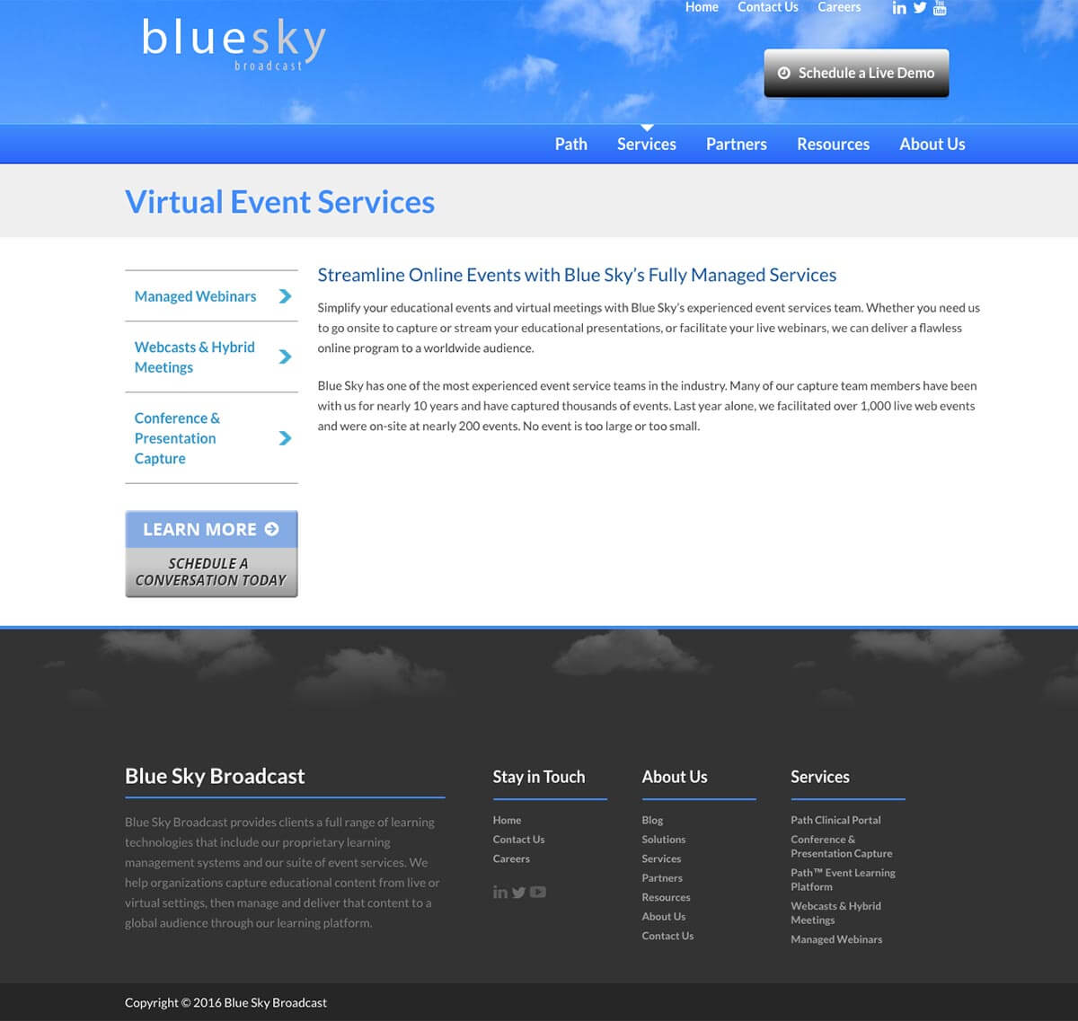 Blue Sky eLearn website before v4