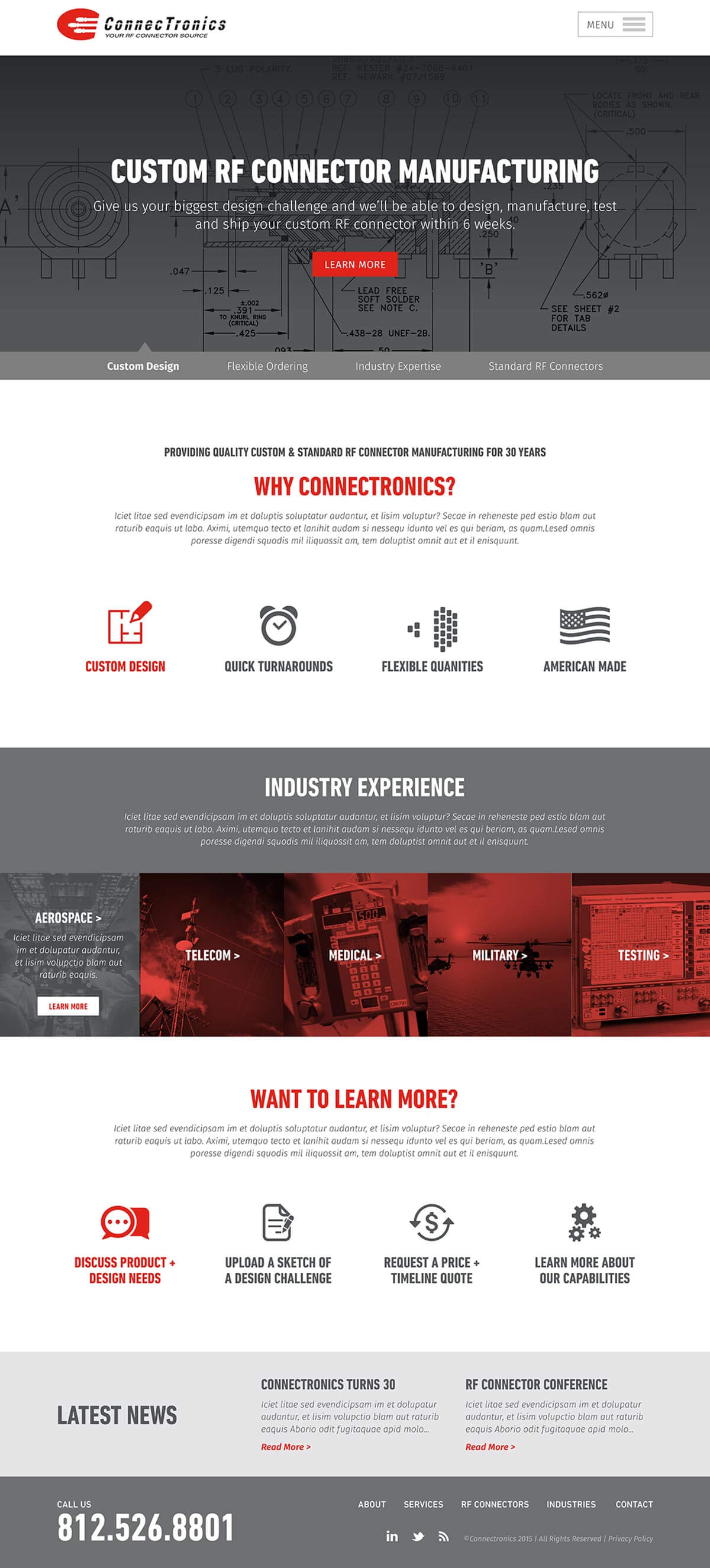 Connectronics website homepage