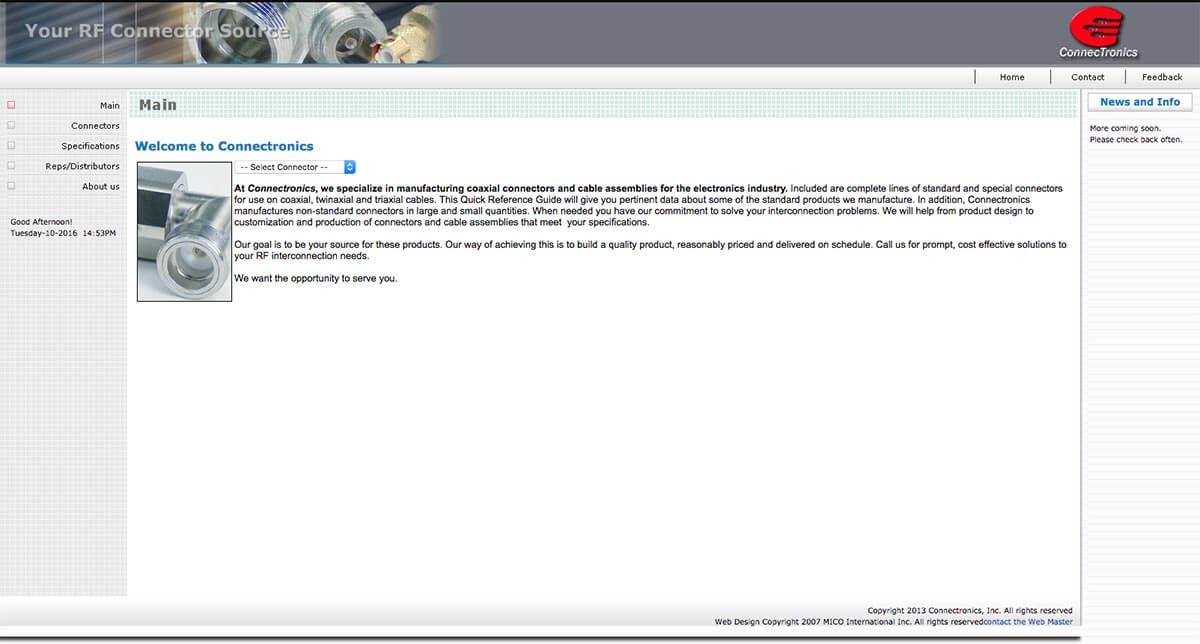 Connectronics website before v2
