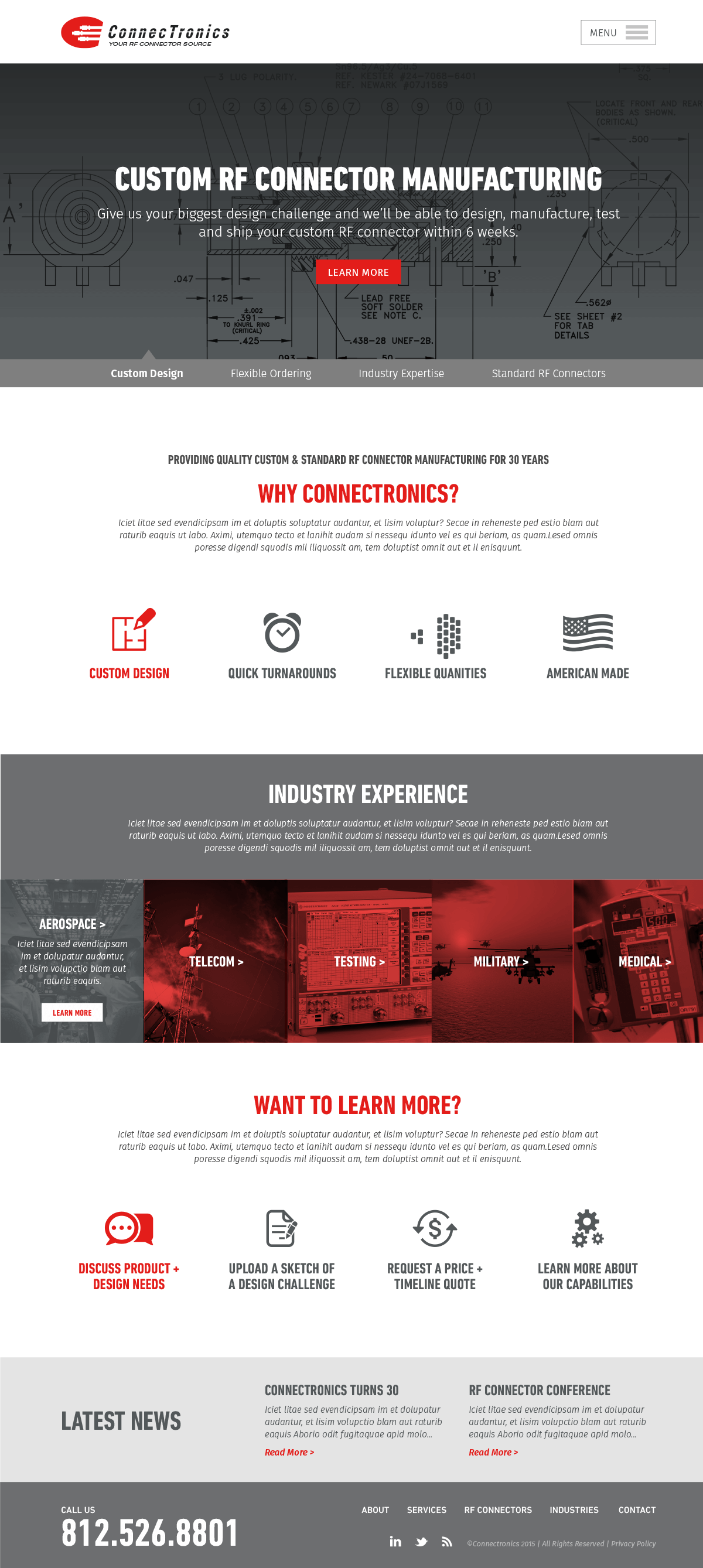 Connectronics - Industrial Website Home Page Design