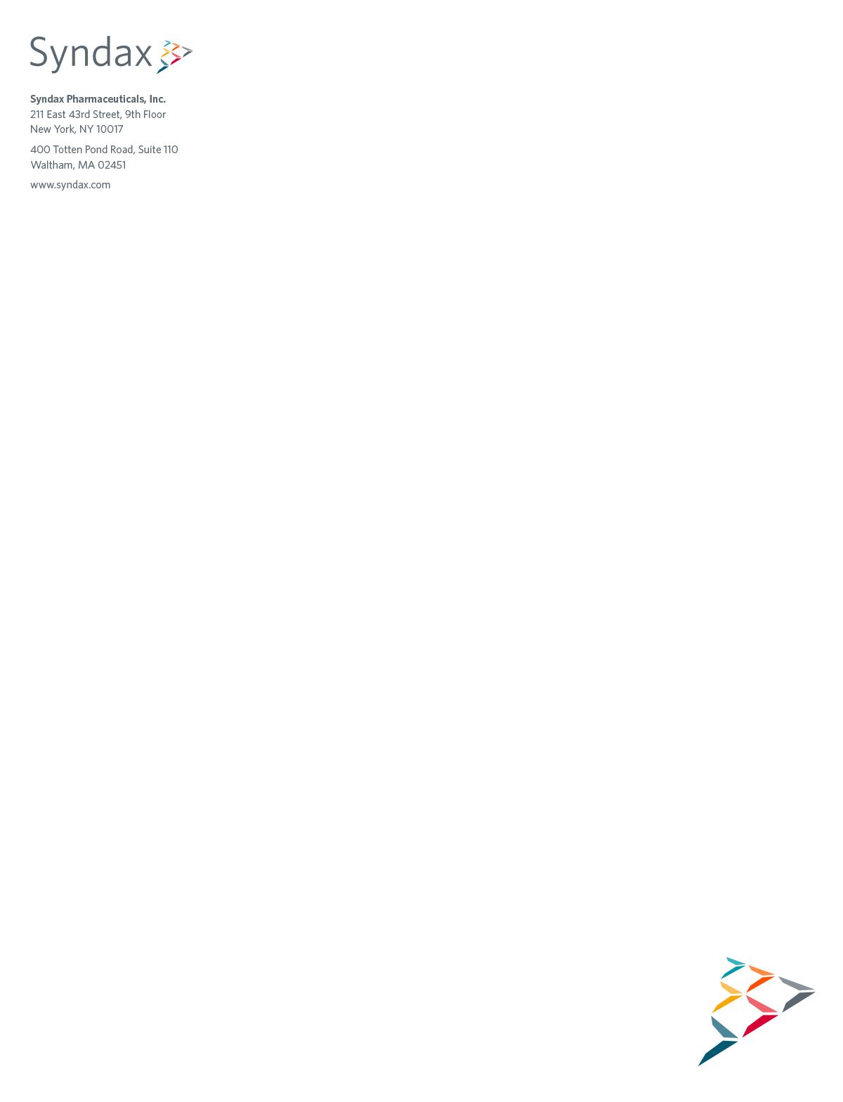 Syndax - Biotech Letterhead