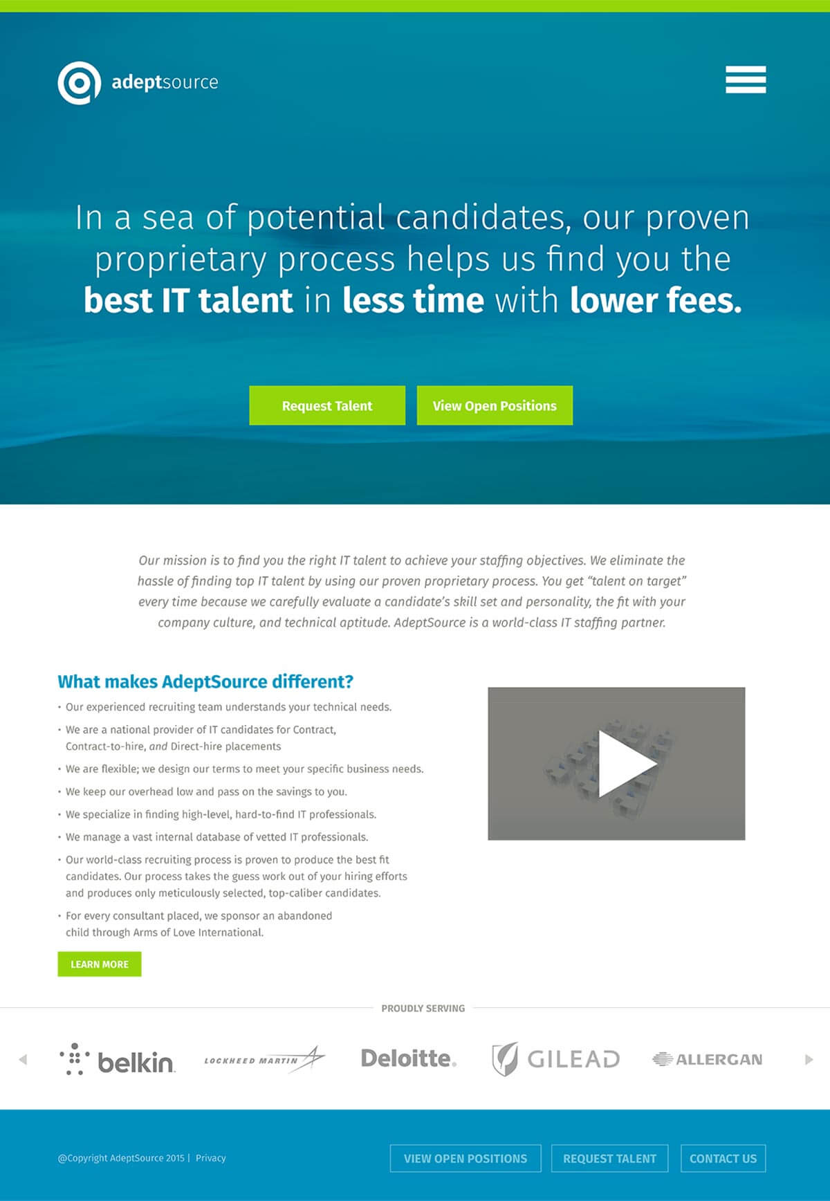 Adeptsource website home page