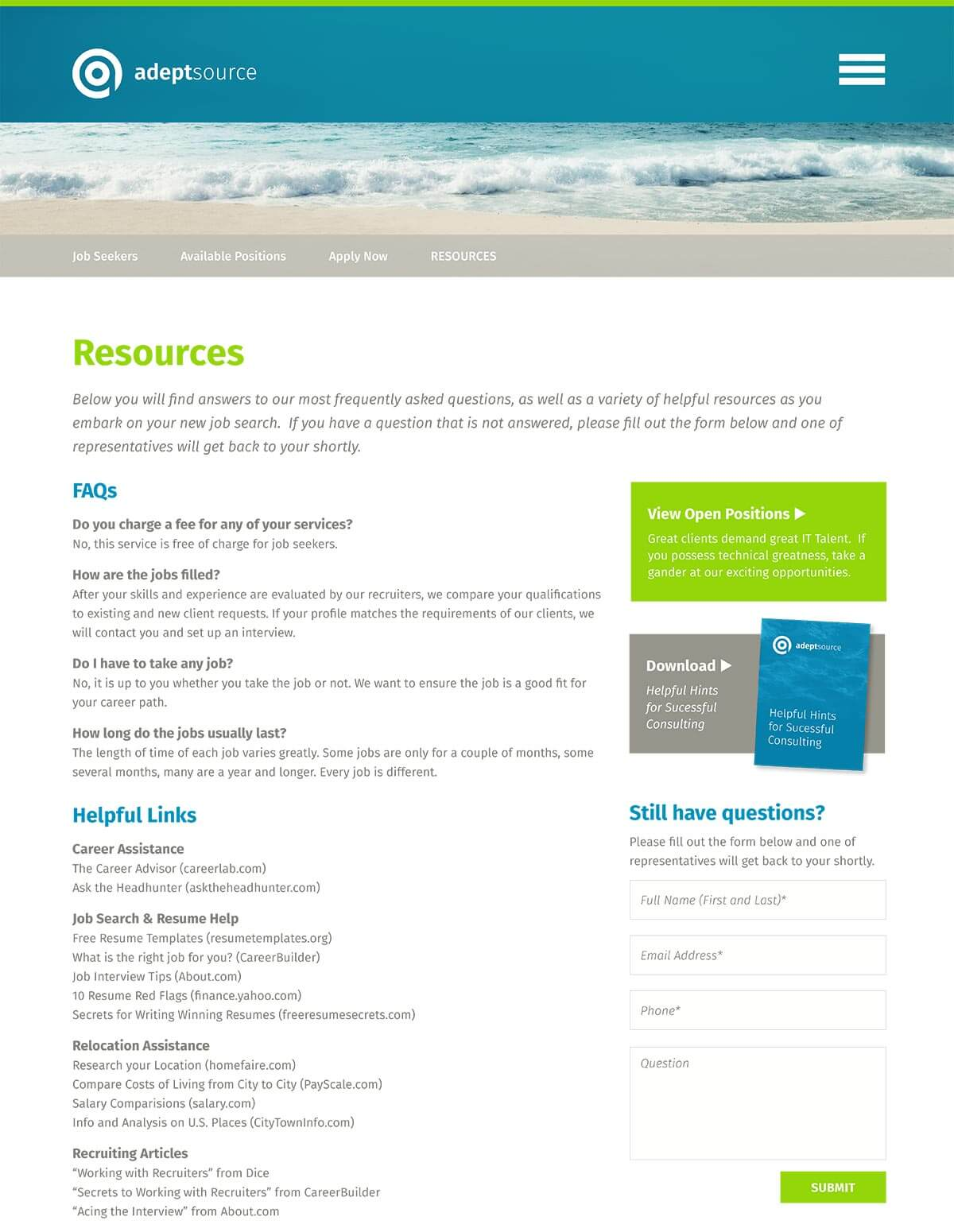 Adeptsource website resources page