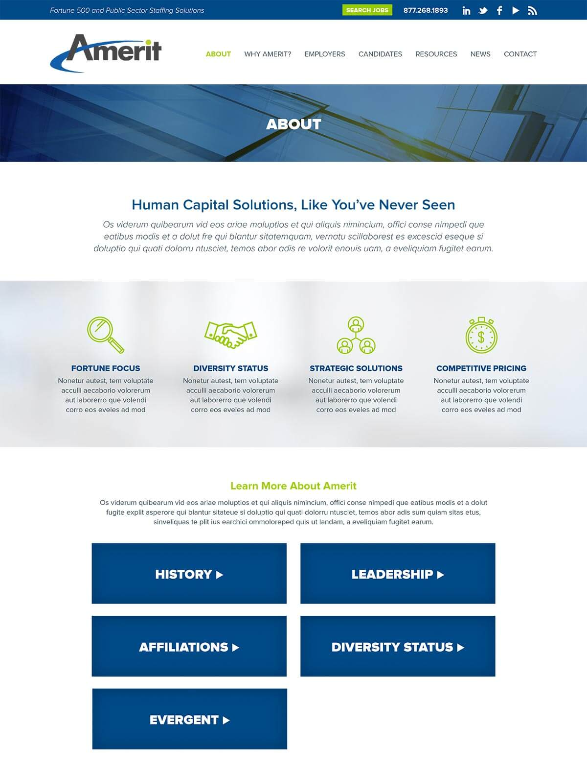 web design for consulting staffing firm staffing agency website consulting firm s unique value proposition communicating a clear message about differentiators to both client and candidate the new web design serves