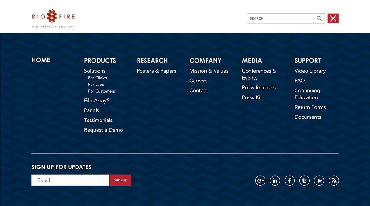 Biofire website footer menu