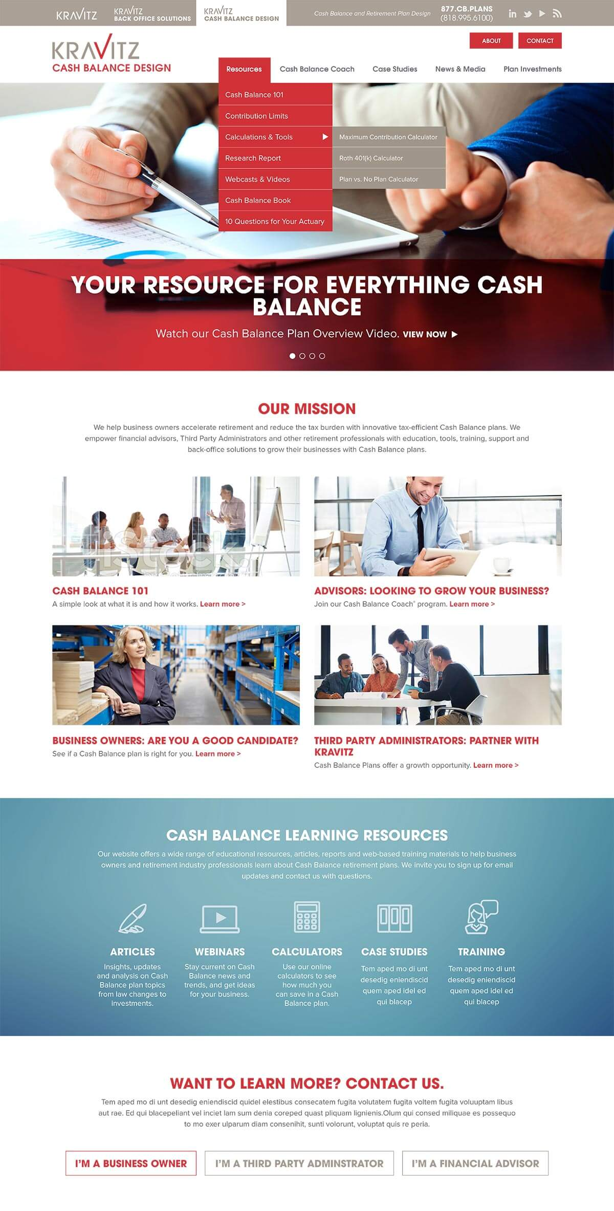 Kravitz - Financial services homepage design