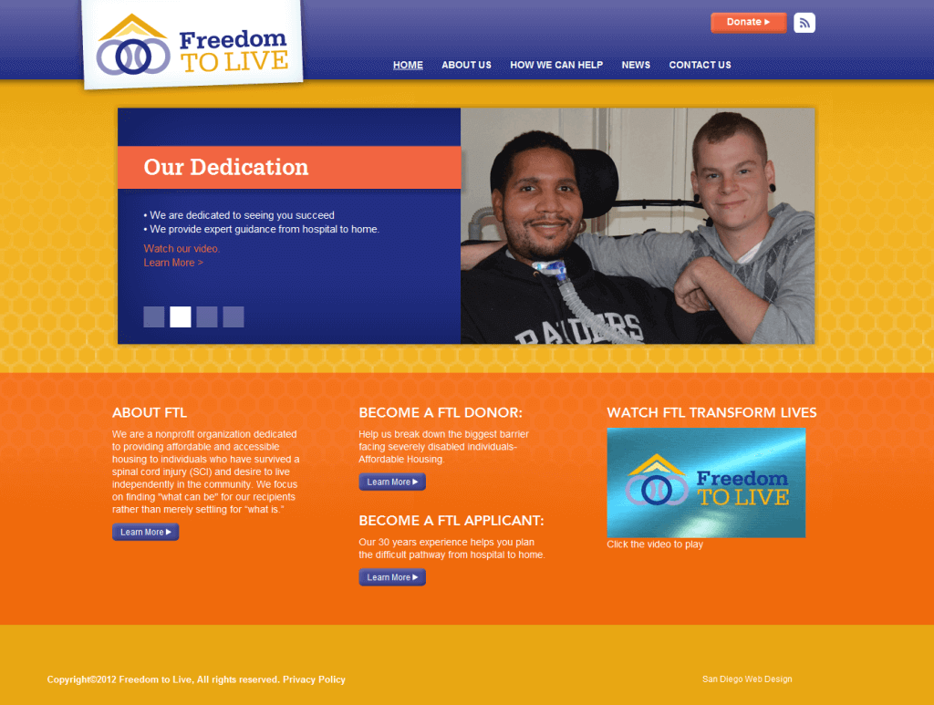 Freedom To Live Web Design Screenshot