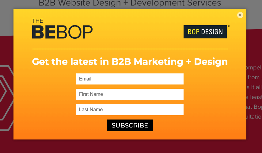 Bop Design Newsletter Sign Up