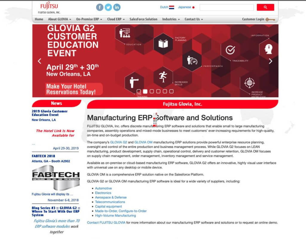 FUJITSU GLOVIA home page before image