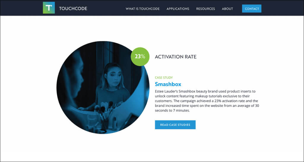 Web Design Highlights Stats to Entice Readers to Case Studies