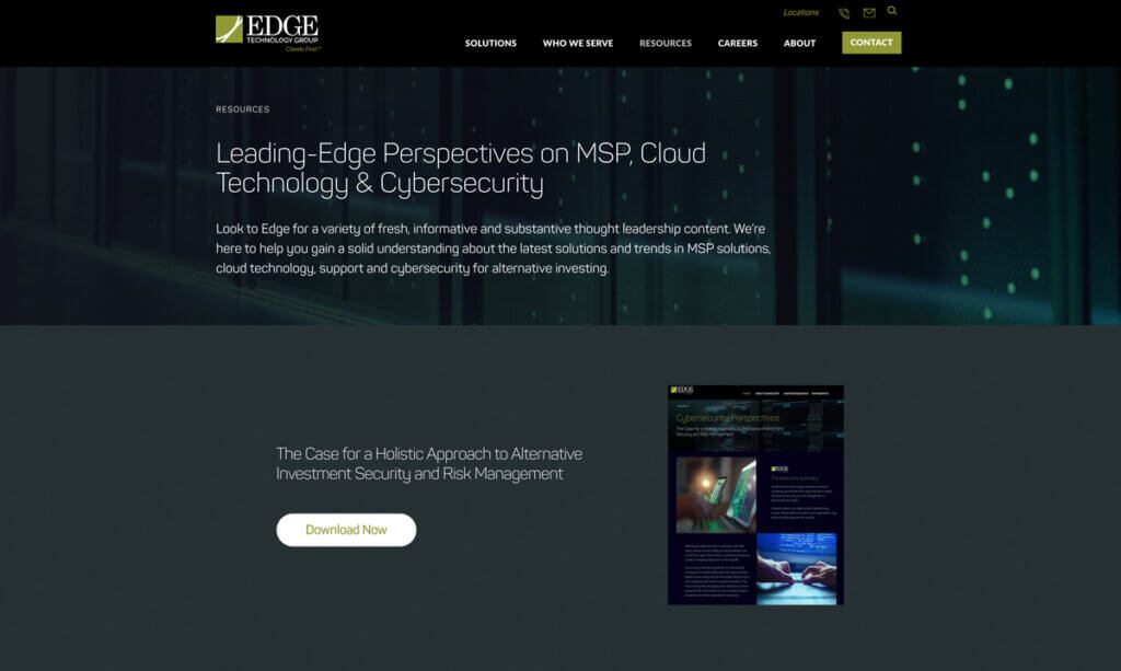 Edge B2B Website Showcases Content Offers